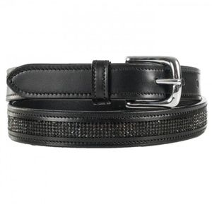 Horze narrow black leather belt